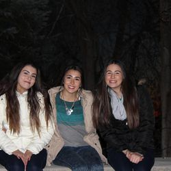 """From left to right, Seli, Ari and Desi Miller are shown at the video shoot for """"Glorioso,"""" a Spanish translation of the song """"Glorious,"""" which was made popular by the film """"Meet the Mormons."""""""
