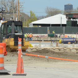 12:52 p.m. Work taking place in the triangle lot -