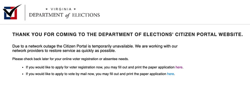 Screenshot of error message on Virginia's voter registration website
