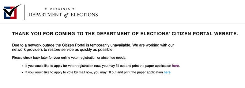 Capture d'écran du message d'erreur sur le site Web d'inscription des électeurs de Virginie
