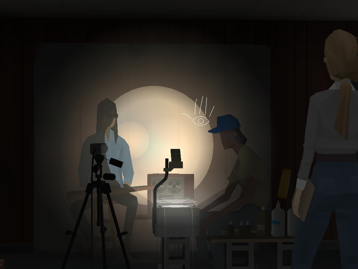 """A scene from Una Puebla De Nada, an interlude of Kentucky Route Zero, features a man with a sitar hosting the """"weather."""""""