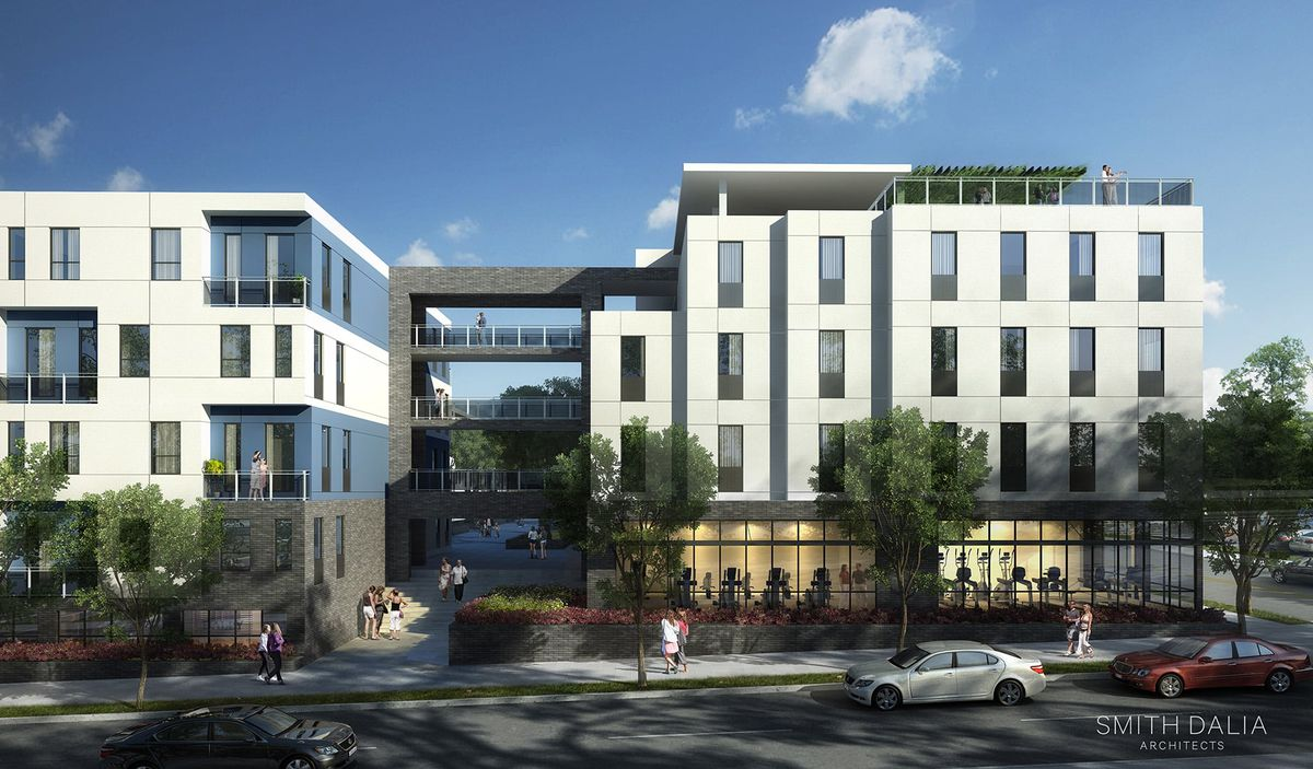 Another rendering shows how modern apartments would be stacked above ground-floor retail.