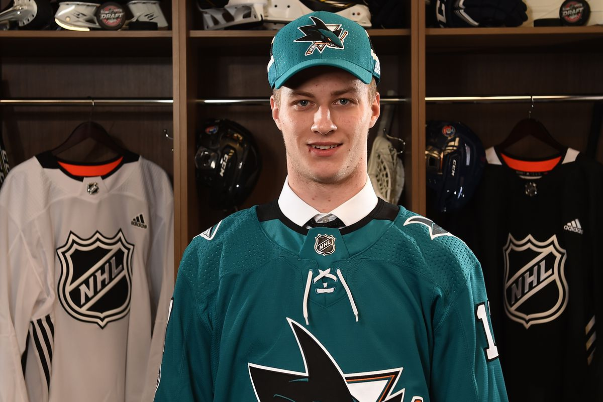 CHICAGO, ILLINOIS - JUNE 24: Ivan Chekhovich, 212th overall pick of the San Jose Sharks, poses for a portrait during the 2017 NHL Draft at the United Center on June 24, 2017 in Chicago, Illinois.