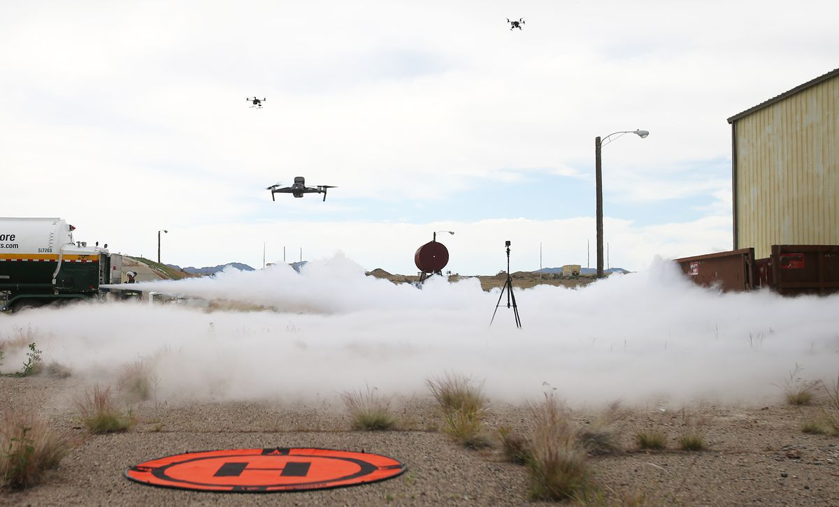 Drones fly over a liquid nitrogen demonstration as Deseret UAS group hosts a two day workshop on deploying drones in hazardous materials situations for emergency responders at the Tekoi Test Range on the Goshute Skull Valley Reservation on Tuesday, June 25, 2019.
