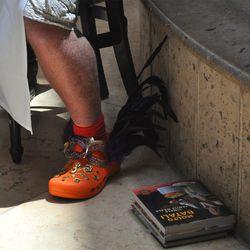 Mario Batali wearing his orange festooned Crocs. Photo: Eater Vegas
