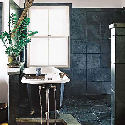 Freshly painted dark blue bathroom update.
