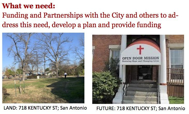 Part of a proposal from a San Antonio church aiming to turn unused real estate into a homeless shelter.
