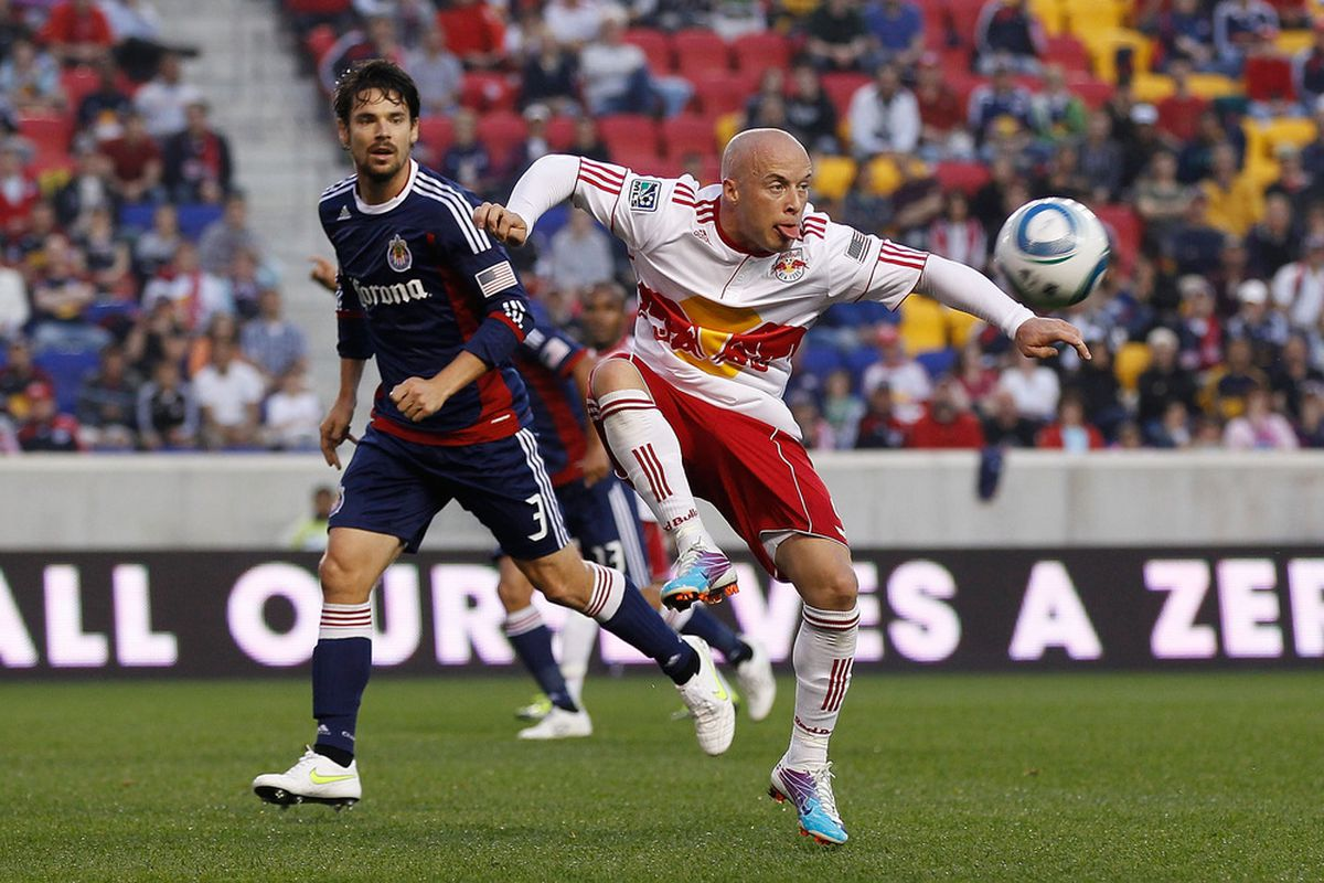 HARRISON, NJ - MAY 15: Heath Pearce played in the All-Star game, but all the photos were of Beckham (Photo by Mike Stobe/Getty Images for New York Red Bulls)