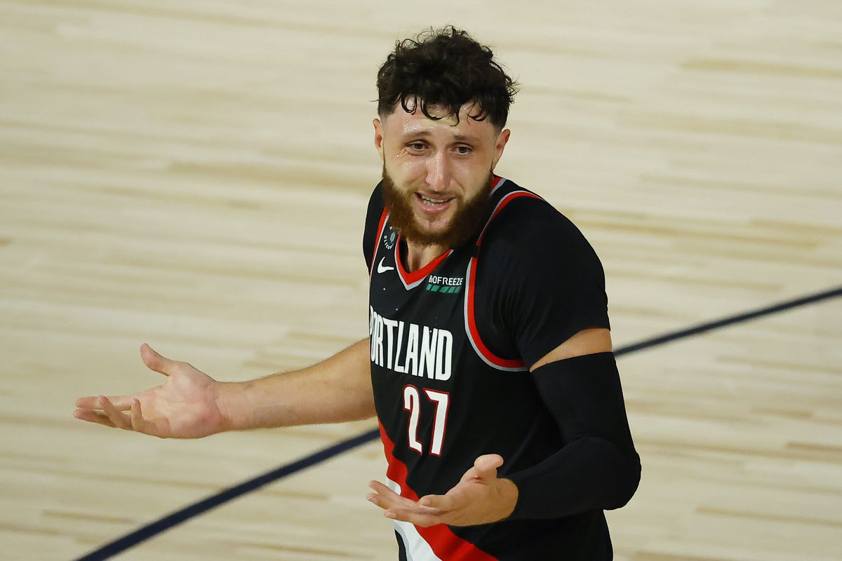 Jusuf Nurkic of the Portland Trail Blazers throws up his arms against the Memphis Grizzlies during the second quarter in the Western Conference play-in game one at The Field House at ESPN Wide World Of Sports Complex on August 15, 2020 in Lake Buena Vista, Florida.