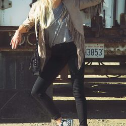 """Shea of <a href=""""http://peaceloveshea.com""""target=""""_blank"""">Peace Love Shea</a> is wearing AG Jeans pants and top, <a href=""""http://shop.nordstrom.com/s/converse-x-missoni-chuck-taylor-all-star-high-top-sneaker-women/3746541?cm_cat=datafeed&cm_ite=converse_x"""