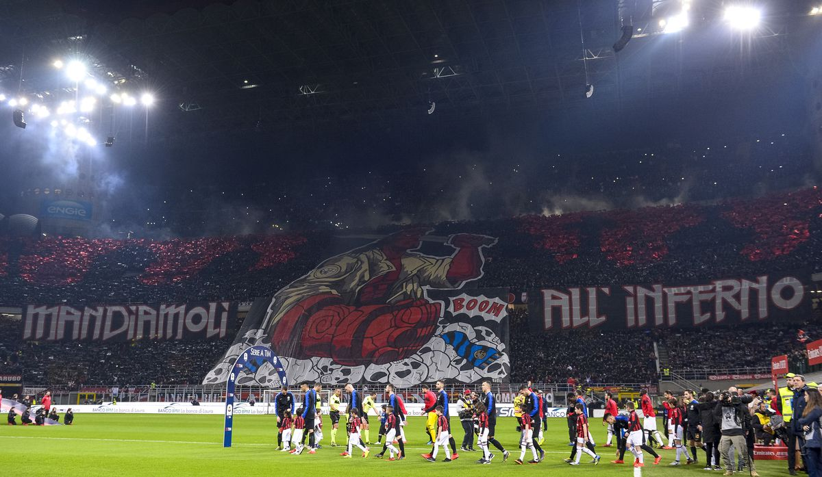 Fans of AC Milan perform a choreography prior to the Serie A...
