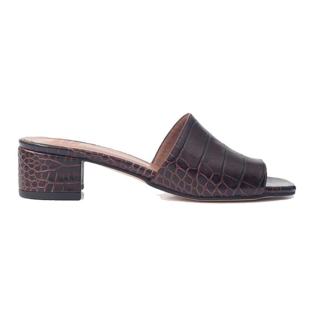 Brown snake skin mules
