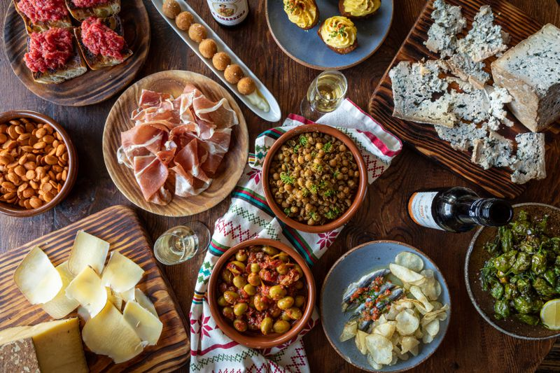 A tapas spread via Mateo's new tapas kits to-go