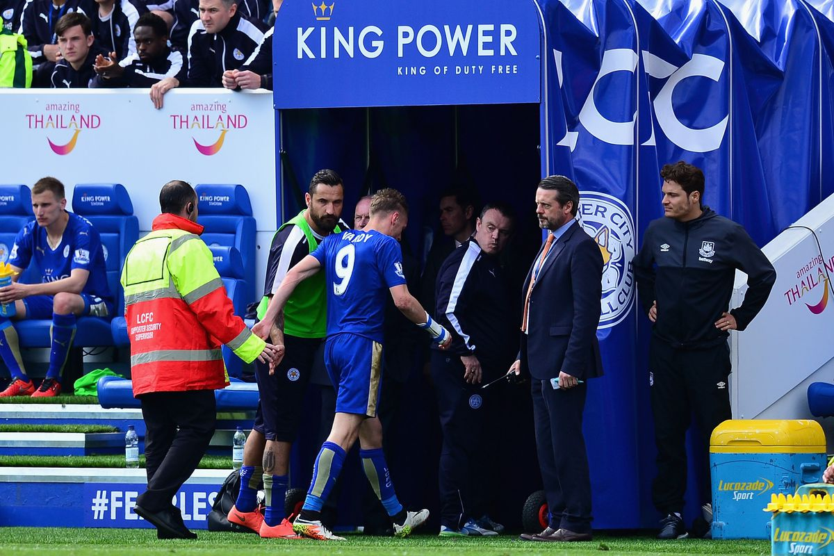 Vardy exits early in the second half