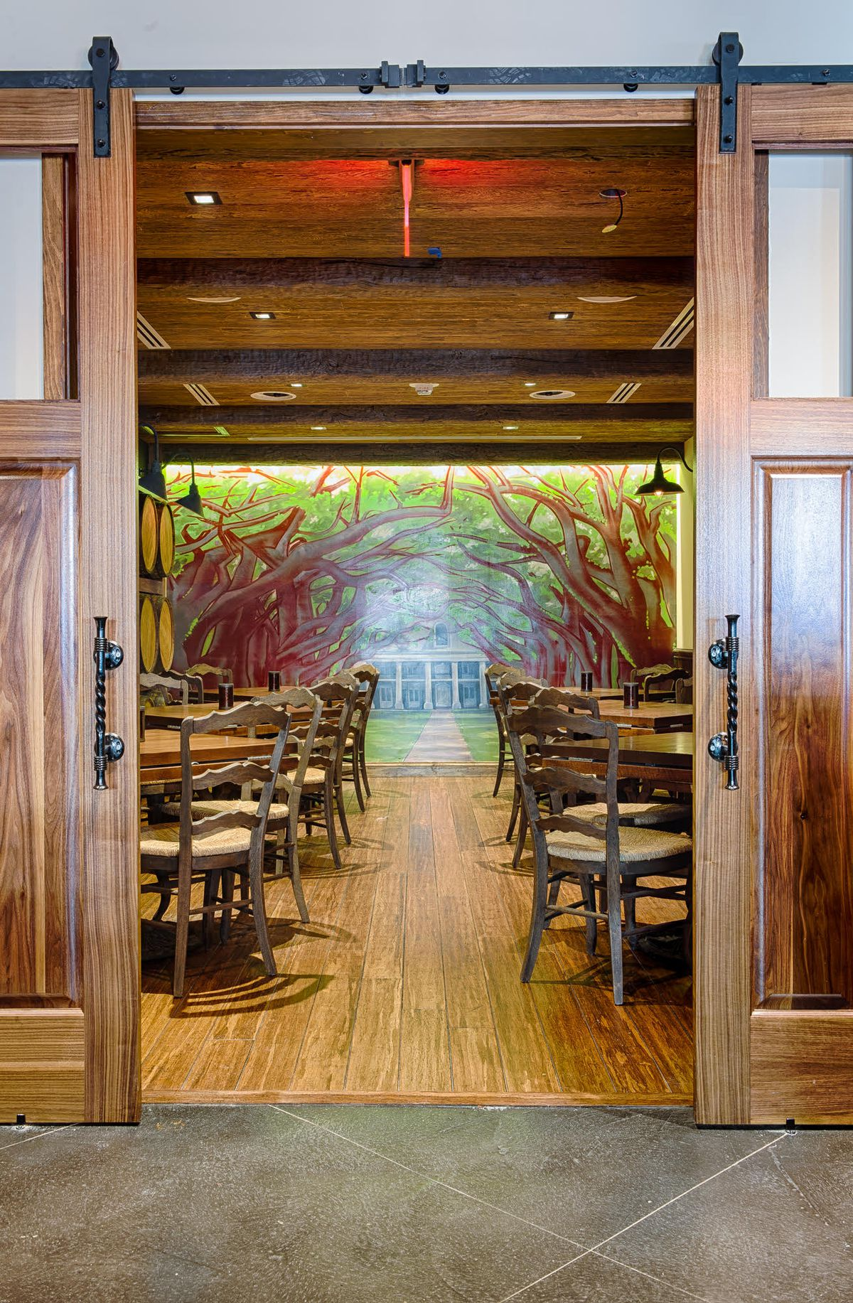 Mural in the private dining space.