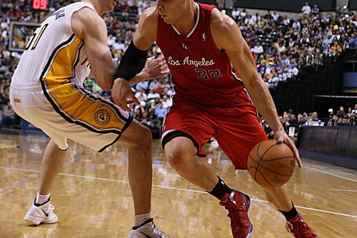 Mar 20, 2012; Indianapolis, IN, USA; Los Angeles Clippers forward Blake Girffin (32) drives to the basket against Indiana Pacers forward Tyler Hansbrough (50) at Bankers Life Fieldhouse.  Mandatory Credit: Brian Spurlock-US PRESSWIRE
