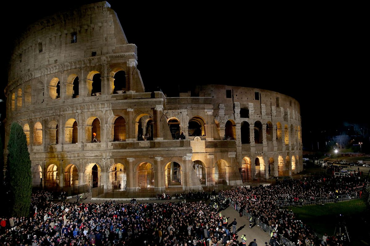 Pope Leads The Stations of The Cross At The Colosseum