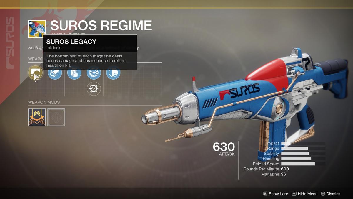 Suros Regime Exotic Destiny 2