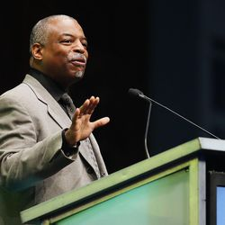 Actor LeVar Burton speaks to RootsTech's general session at the Salt Palace in Salt Lake City on Friday, Feb. 10, 2017.