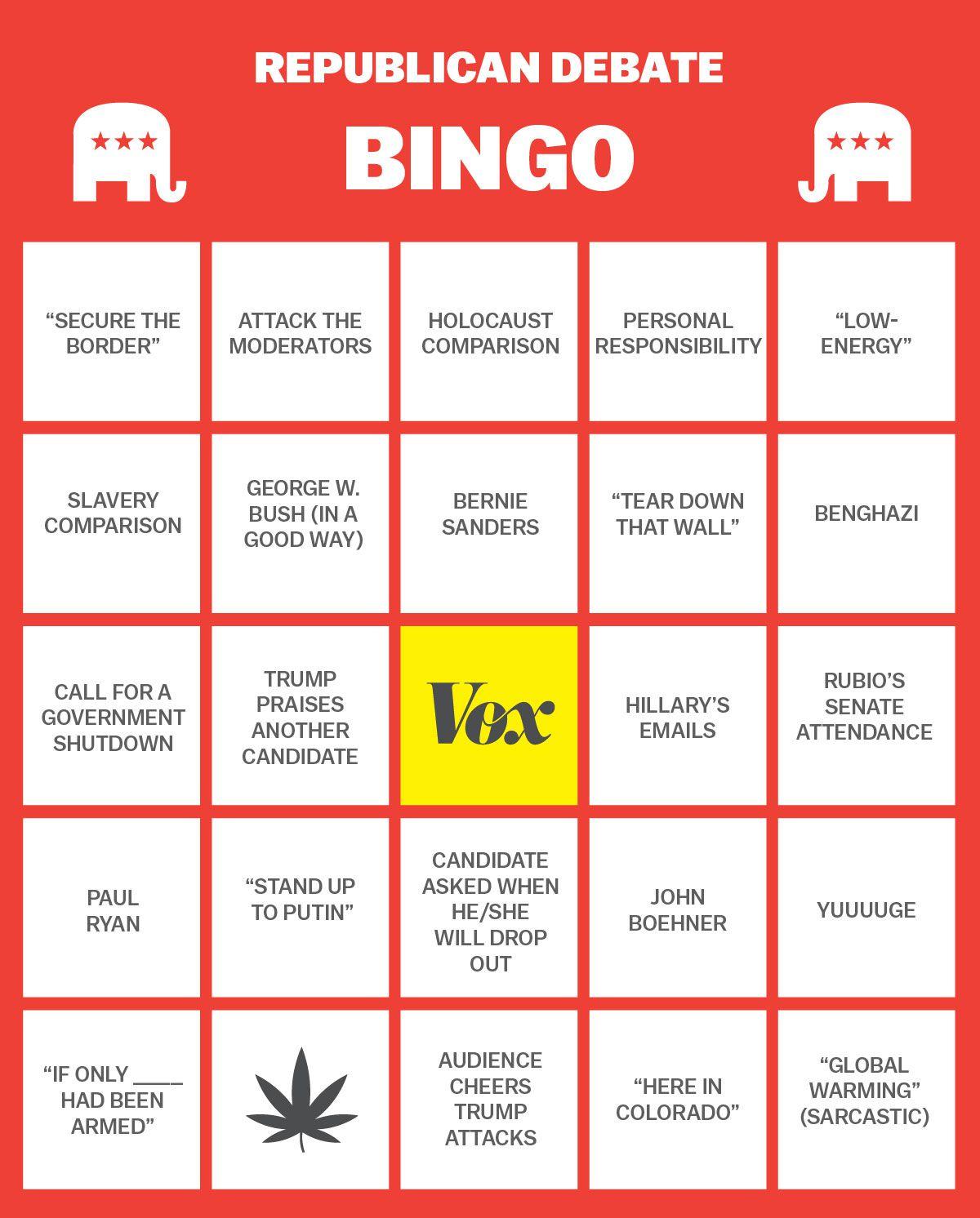 Republican debate CNBC bingo 2