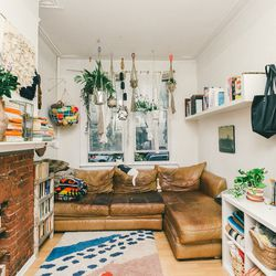 """Phoebe: """"We usually do [the plant hangers] in batches, so we'll do maybe 20 a day. It's very low-budget. We set up the computer to TV shows."""" <br><br><em>Colorblock plant hangers in hemp (<a href=""""http://www.coldpicnic.com/collections/plant-hangers/produ"""