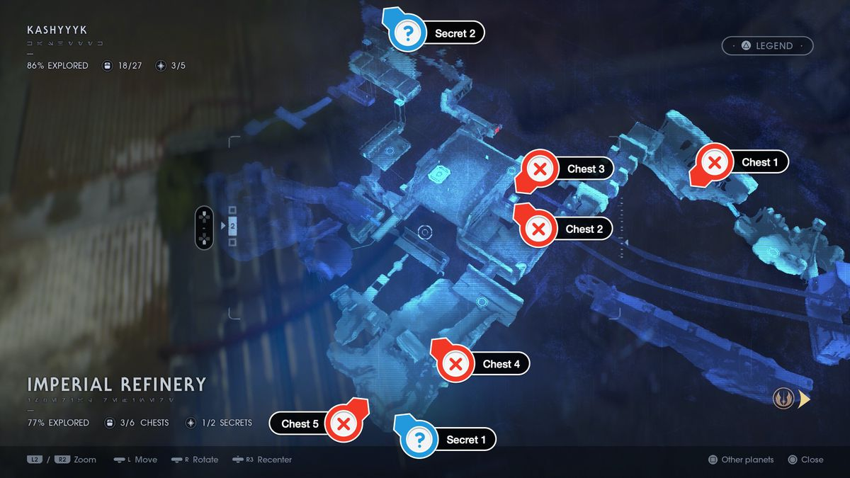 Star Wars Jedi Fallen Order Kashyyyk Imperial Refinery chests and secrets locations map