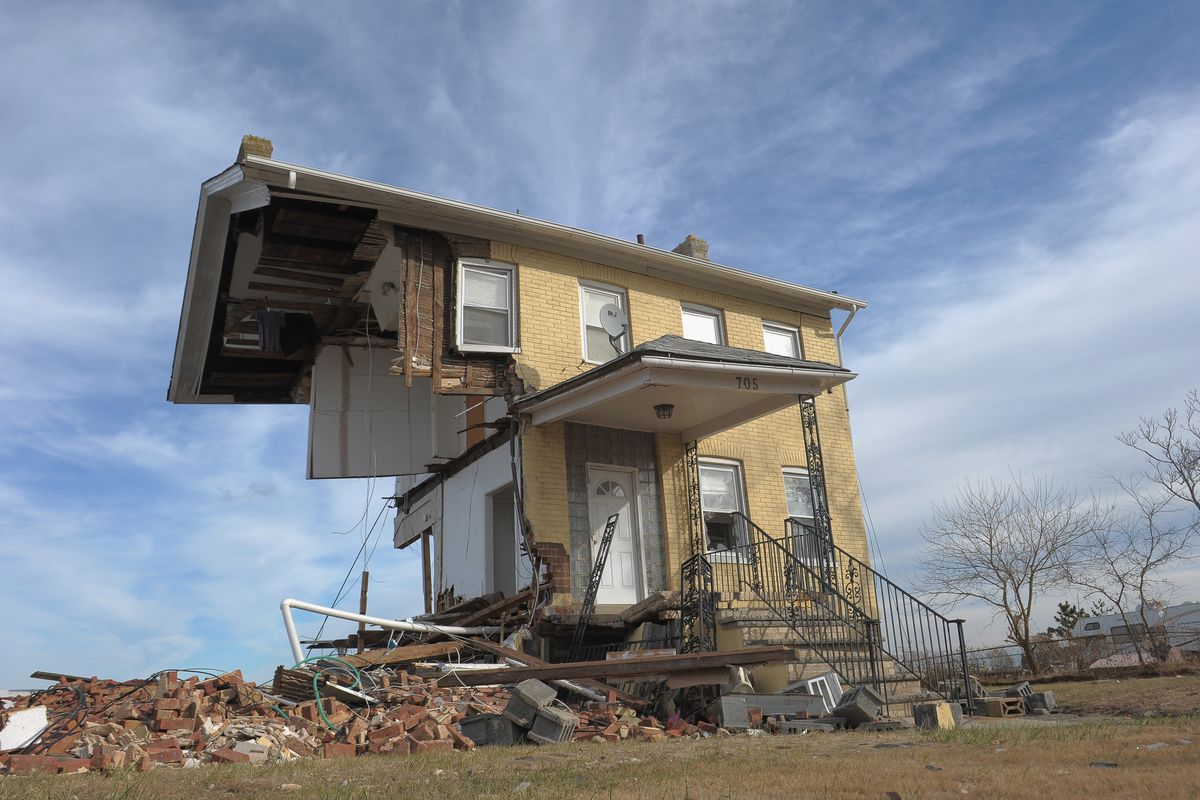 The Princess Cottage Inn, victimized by Superstorm Sandy a month prior, remains devastated in 2012 in Union Beach, New Jersey.