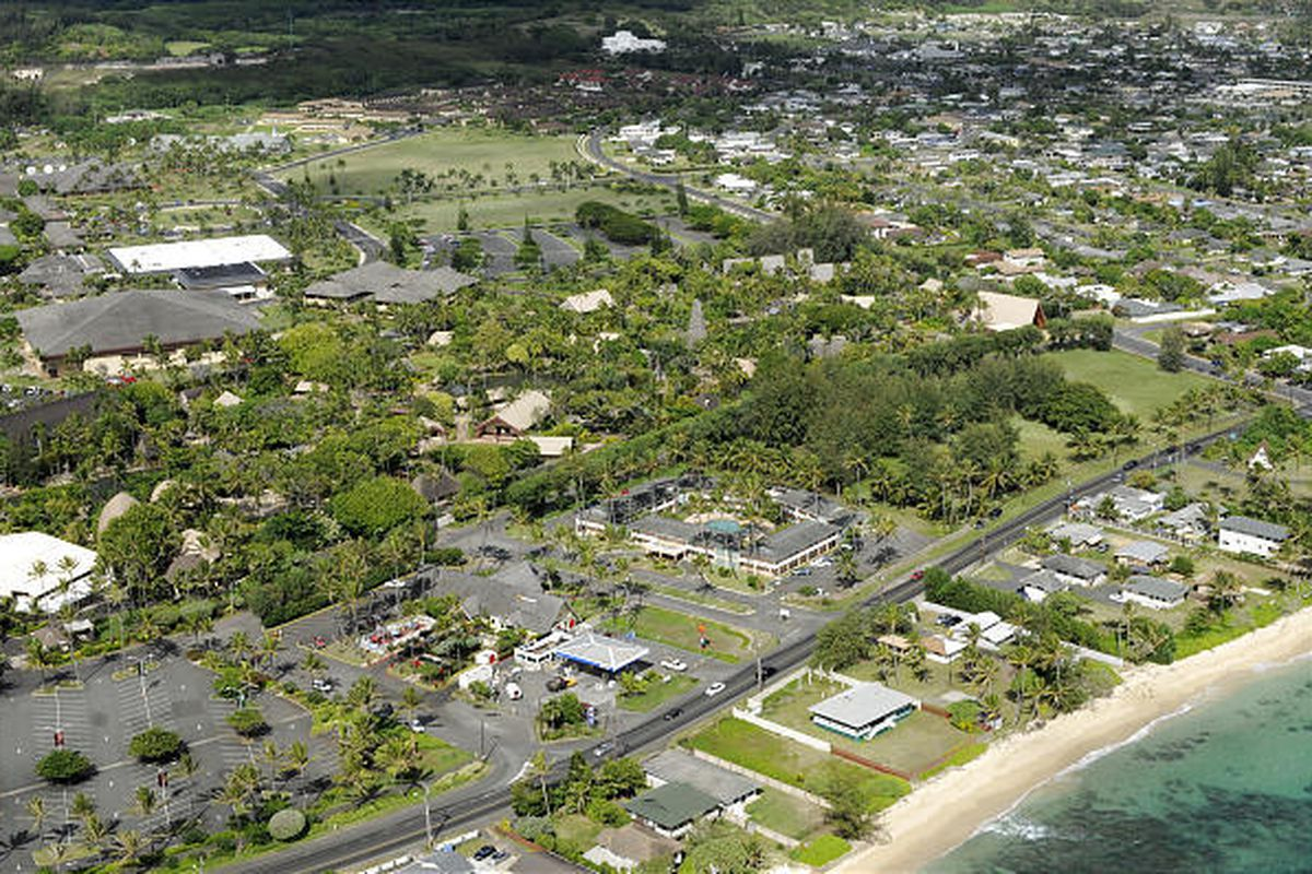 The Laie Inn, in the mid-foreground adjacent to the Polynesian Cultural Center, closed Nov. 3, 2009, to make way for updated lodging. The inn was operated by a contractor for Hawaii Reserves, Inc., Hawaii's property and development arm of The Church of Je