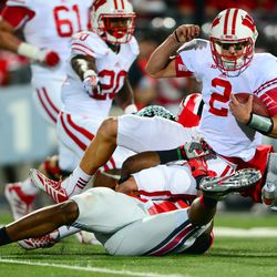 Stave is tackled.