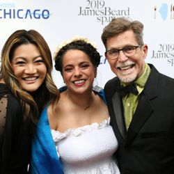 Ji Suk Yi, Chef Diana Davila and Chef Rick Bayless on the JBA Red Carpet. | Brian Rich/Sun-Times