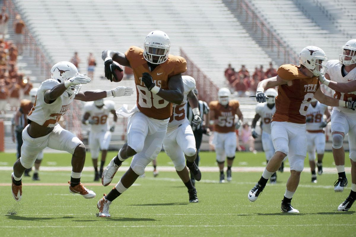 Apr 1, 2012; Austin, TX, USA; Texas Longhorns tight end M.J. McFarland (88) runs the ball after a reception during the first half of the spring game at Royal-Texas Memorial Stadium. Mandatory Credit: Brendan Maloney-US PRESSWIRE
