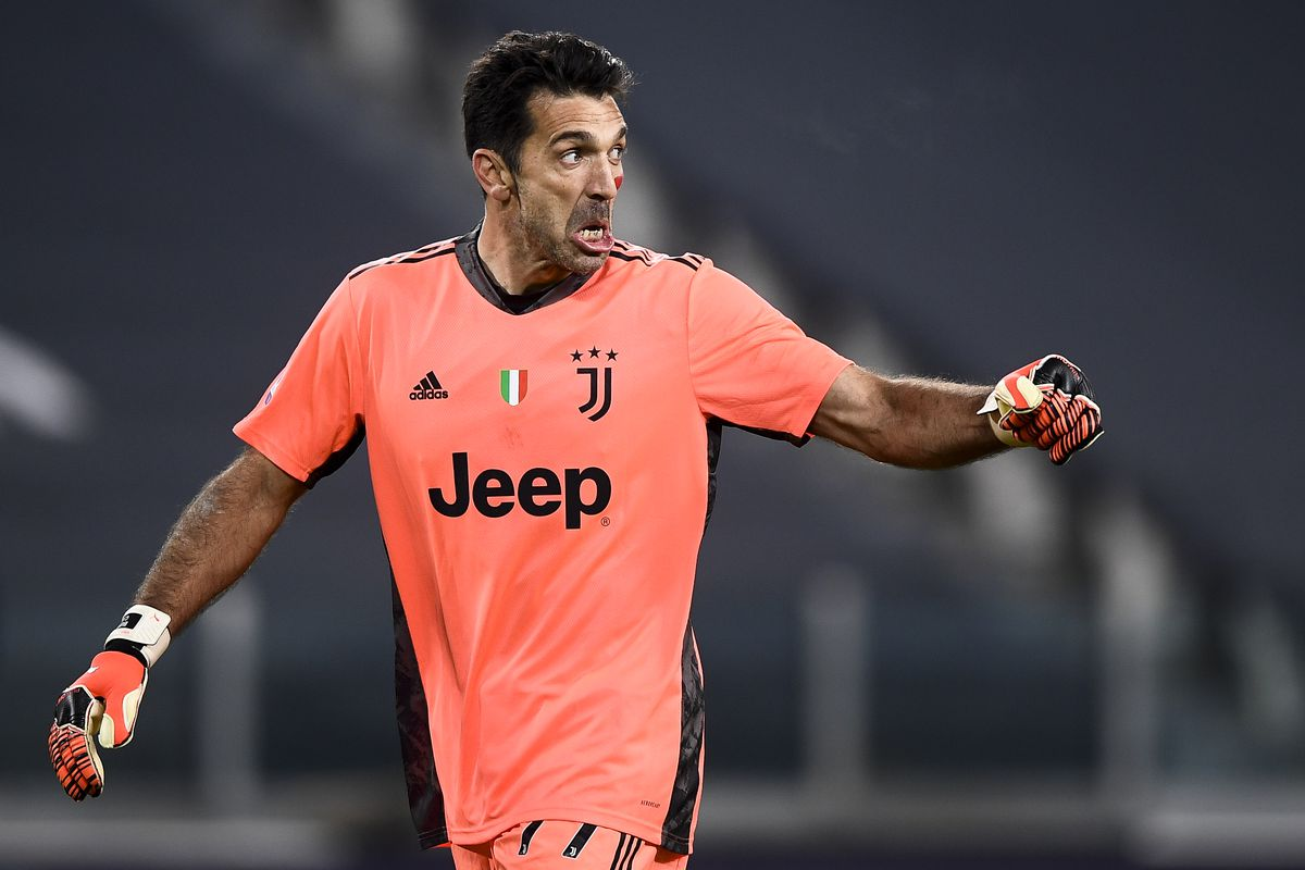 Gianluigi Buffon of Juventus FC celebrates during the Serie...