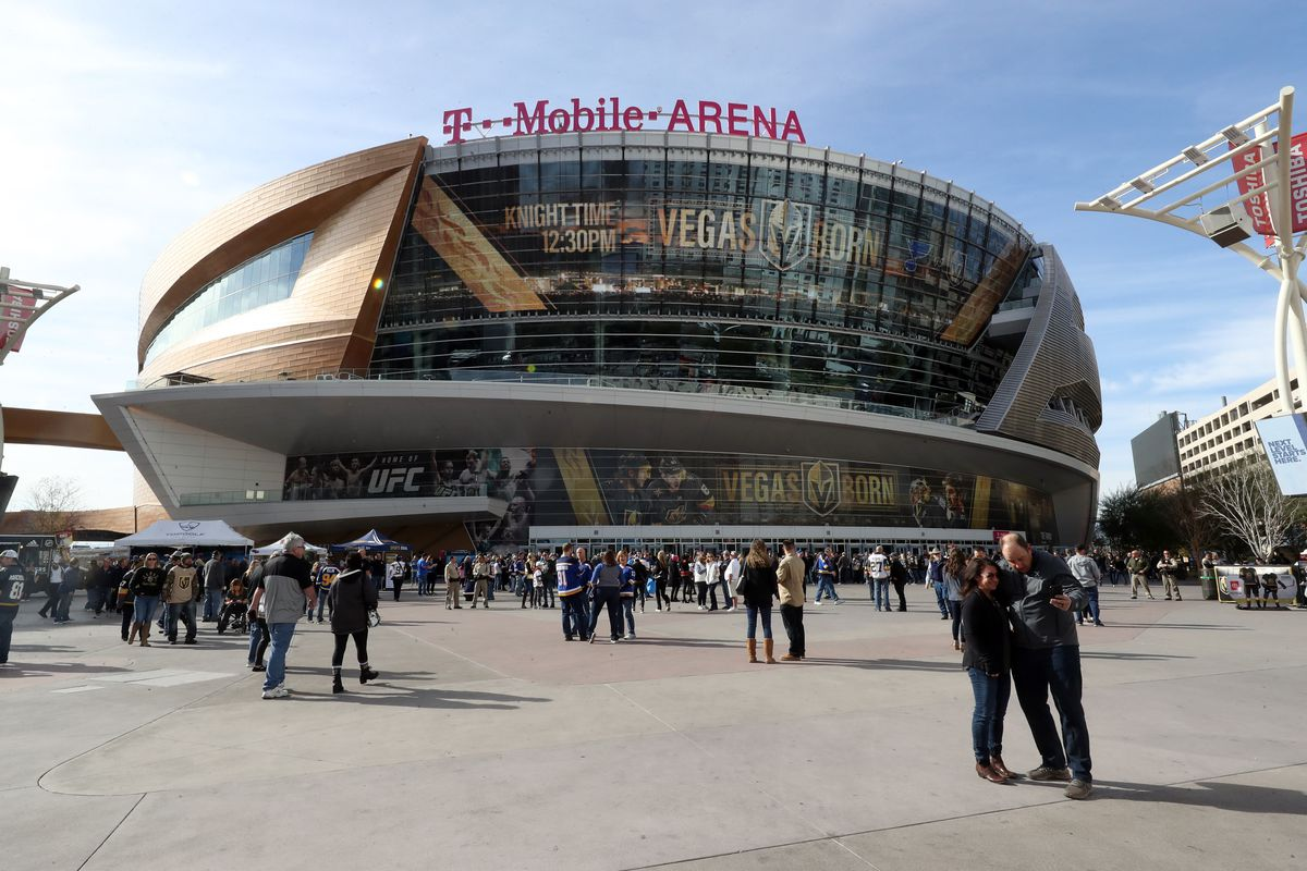 A general view outside T-Mobile Arena prior to a game between the Vegas Golden Knights and the St. Louis Blues on January 04, 2020 in Las Vegas, Nevada.