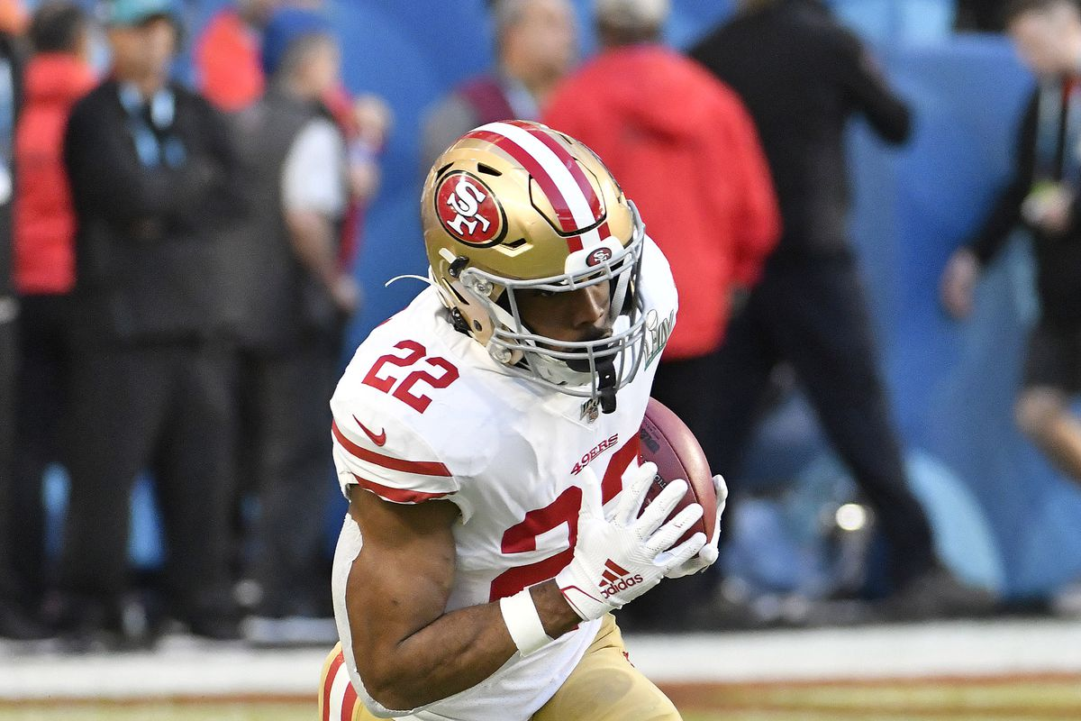 Matt Breida of the San Francisco 49ers warms up during pregame warm ups prior to the start of Super Bowl LIV against the Kansas City Chiefs at Hard Rock Stadium on February 02, 2020 in Miami, Florida.