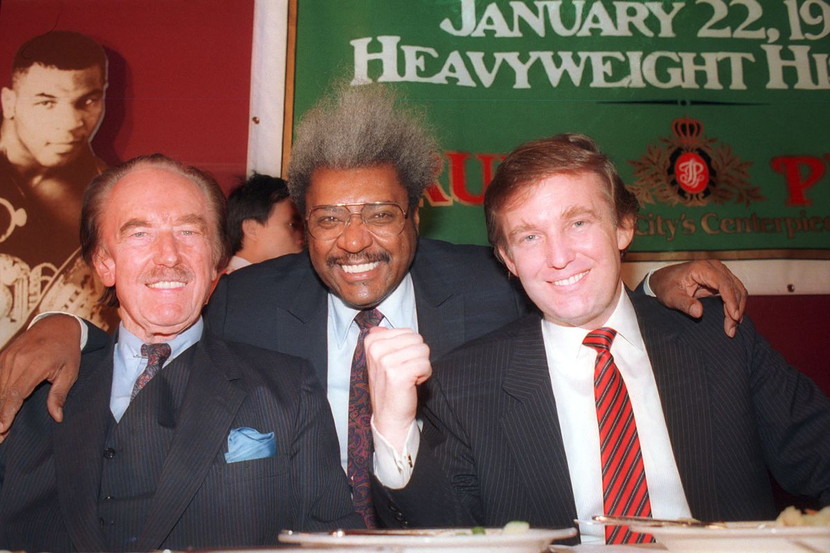 Fred Trump, boxing promoter Don King, and Donald Trump in 1987