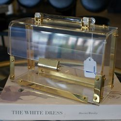 This lucite clutch needs to be in our closet now.