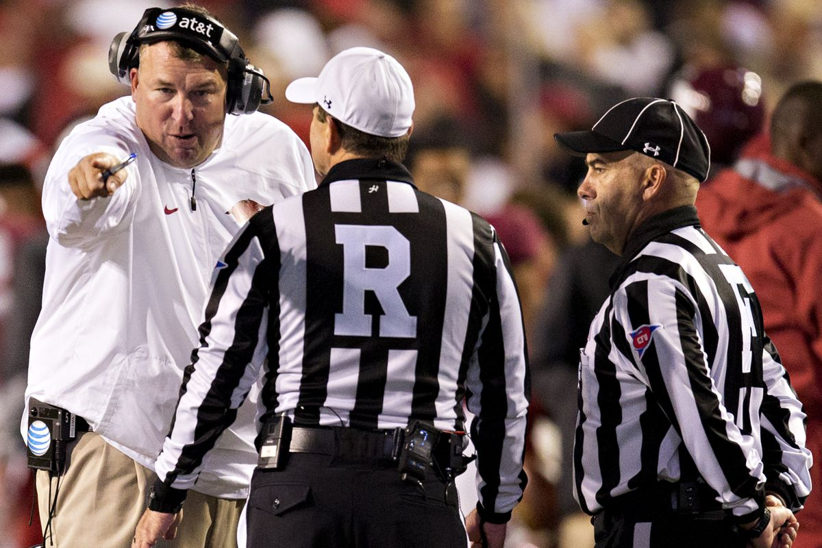 Bret Bielema giving Penn Wagers the business.
