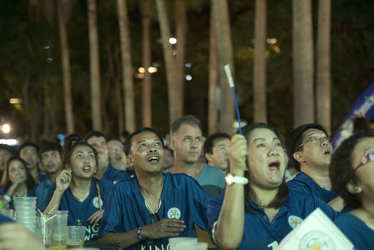Leicester City Fans Watch Their Team at the King Power Hotel