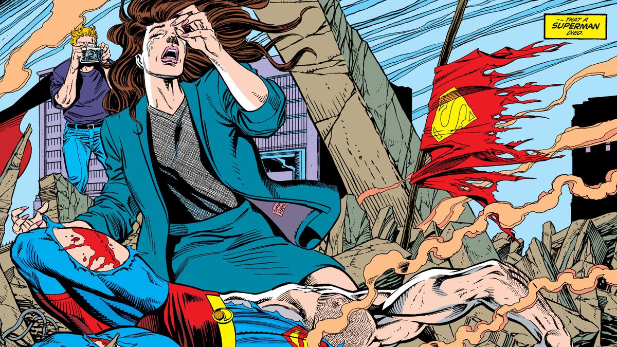 Superman's body lies in rubble, while Lois Lane and Jimmy Olsen mourn and his tattered cape flutters in the smoke, on the final page of Superman #75, DC Comics (1992).