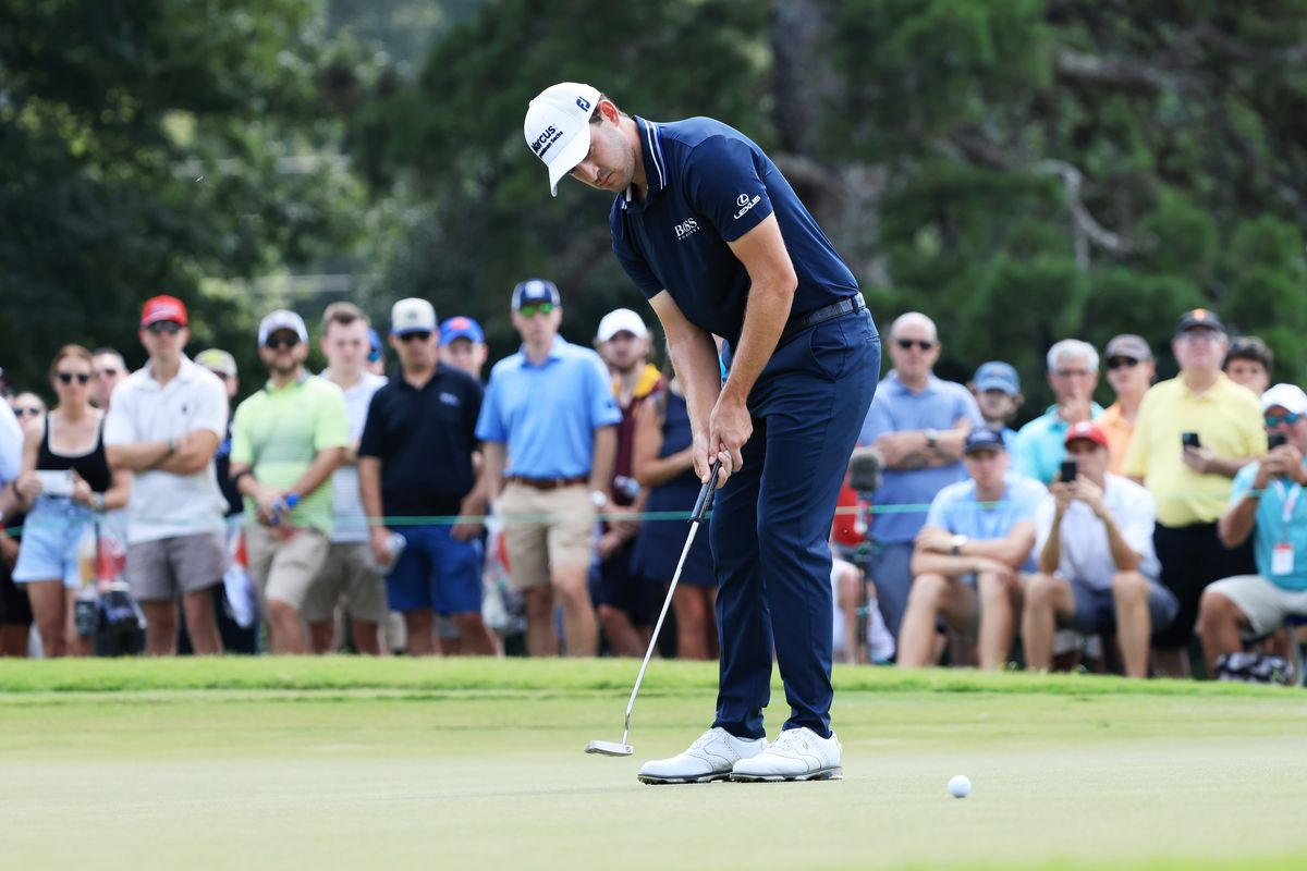 Patrick Cantlay of the United States putts on the seventh green during the final round of the TOUR Championship at East Lake Golf Club on September 05, 2021 in Atlanta, Georgia.
