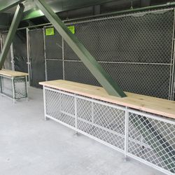 """6:34 p.m. """"Bar"""" counter tops built up, around the support columns, under the right-field porch -"""