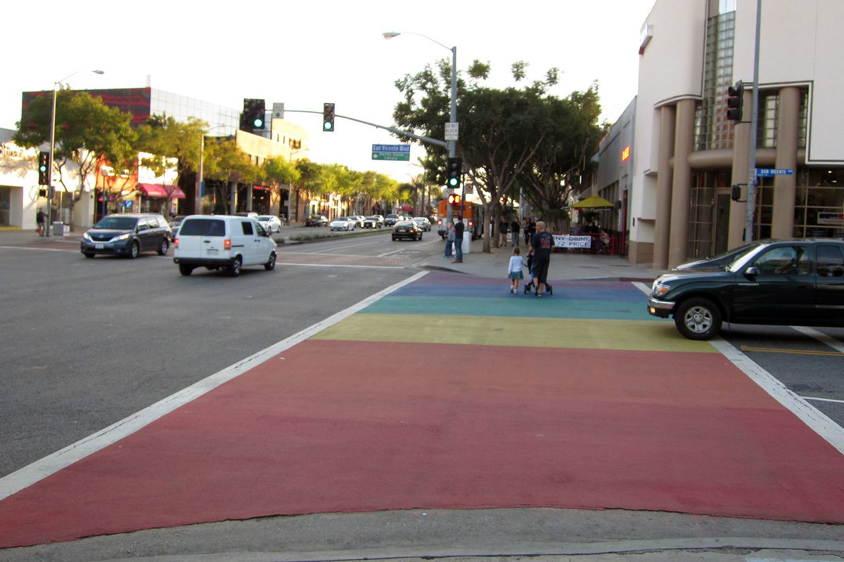 West Hollywood street with a rainbow painted in the crosswalk
