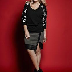 Sweatshirt, $68.50; faux leather colorblock skirt, $54.50