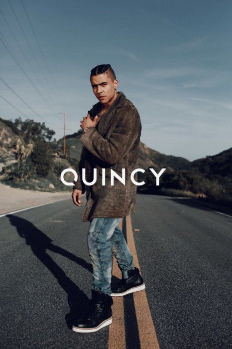 """""""This photo shoot was super fun and spontaneous. I love Quincy's energy. He was just so down to go wherever. We had a planned shoot but his stylist brought one extra look and I didn't have any other spots (I don't like shooting different looks at the same"""