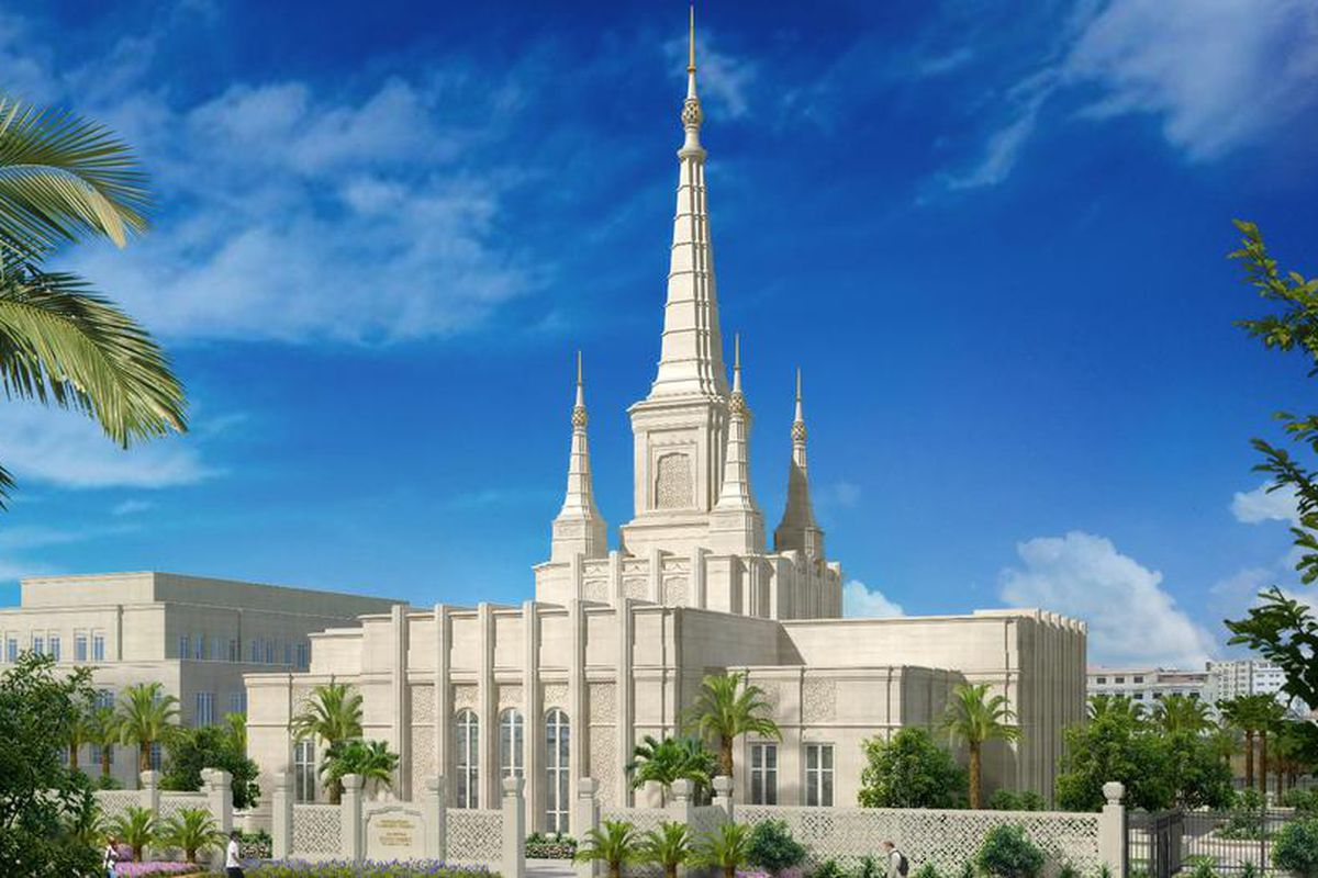 An artist's rendering of The Phnom Penh Cambodia Temple, the first temple of The Church of Jesus Christ of Latter-day Saints in that country.