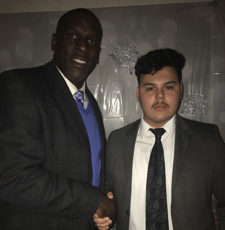 Daniel Casas, right, with Kingsbury High School Principal Terry Ross