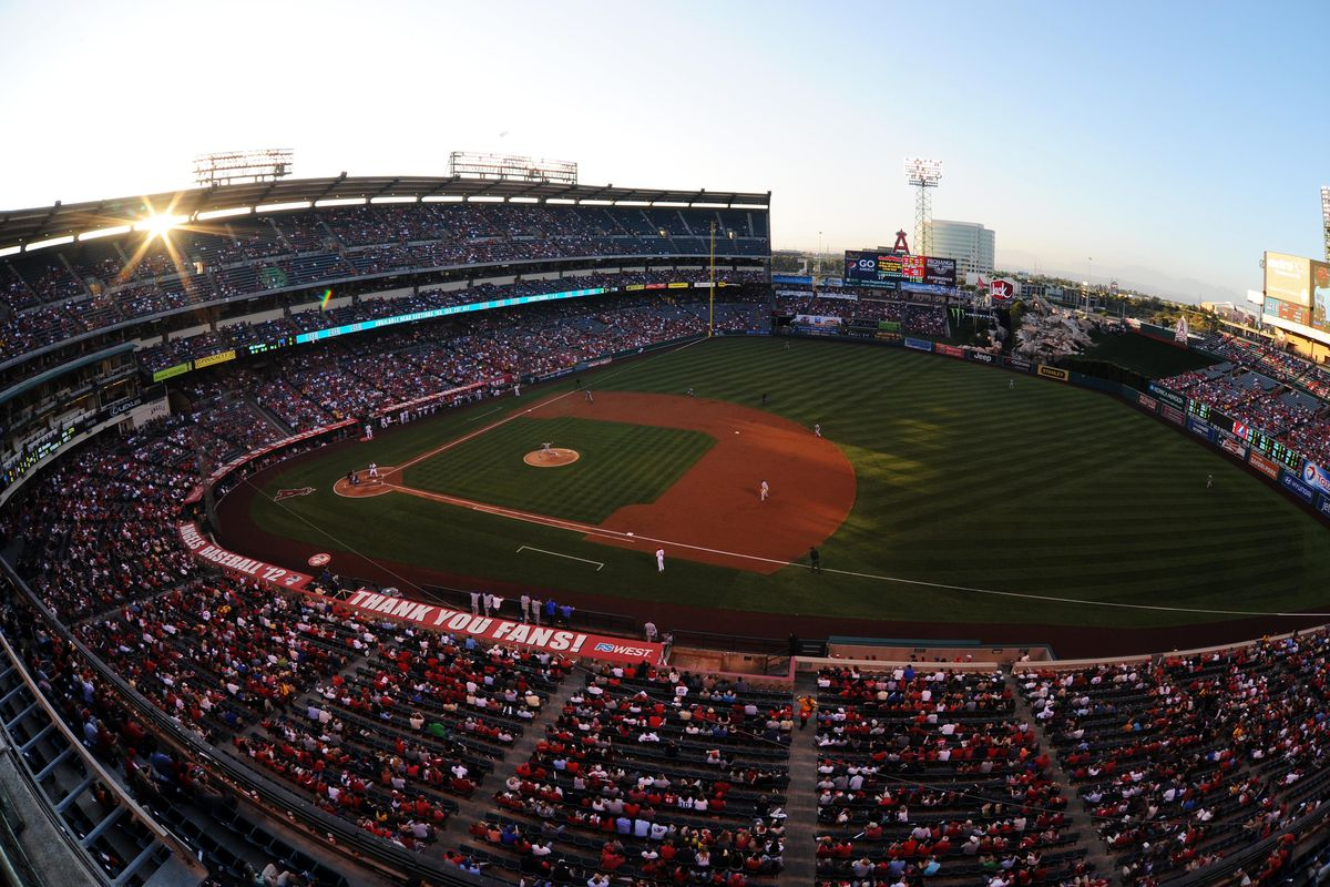 Jul 23, 2012; Anaheim, CA, USA; A general view of Angel Stadium of Anaheim while Kansas City Royals pitcher Bruce Chen (52) pitches against the Los Angeles Angels during the first inning. Mandatory Credit: Kelvin Kuo-US PRESSWIRE
