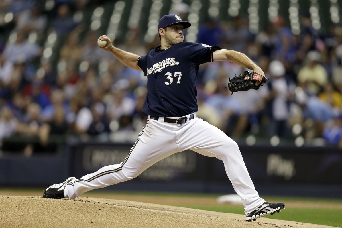 MILWAUKEE, WI - AUGUST 20: Mark Rogers #37 of the Milwaukee Brewers pitches against the Chicago Cubs during the game at Miller Park on August 20, 2012 in Milwaukee, Wisconsin. (Photo by Mike McGinnis/Getty Images)