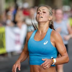 Makenna Myler places first in the women's division of the Deseret News Half Marathon at Liberty Park in Salt Lake City on Friday, July 23, 2021.