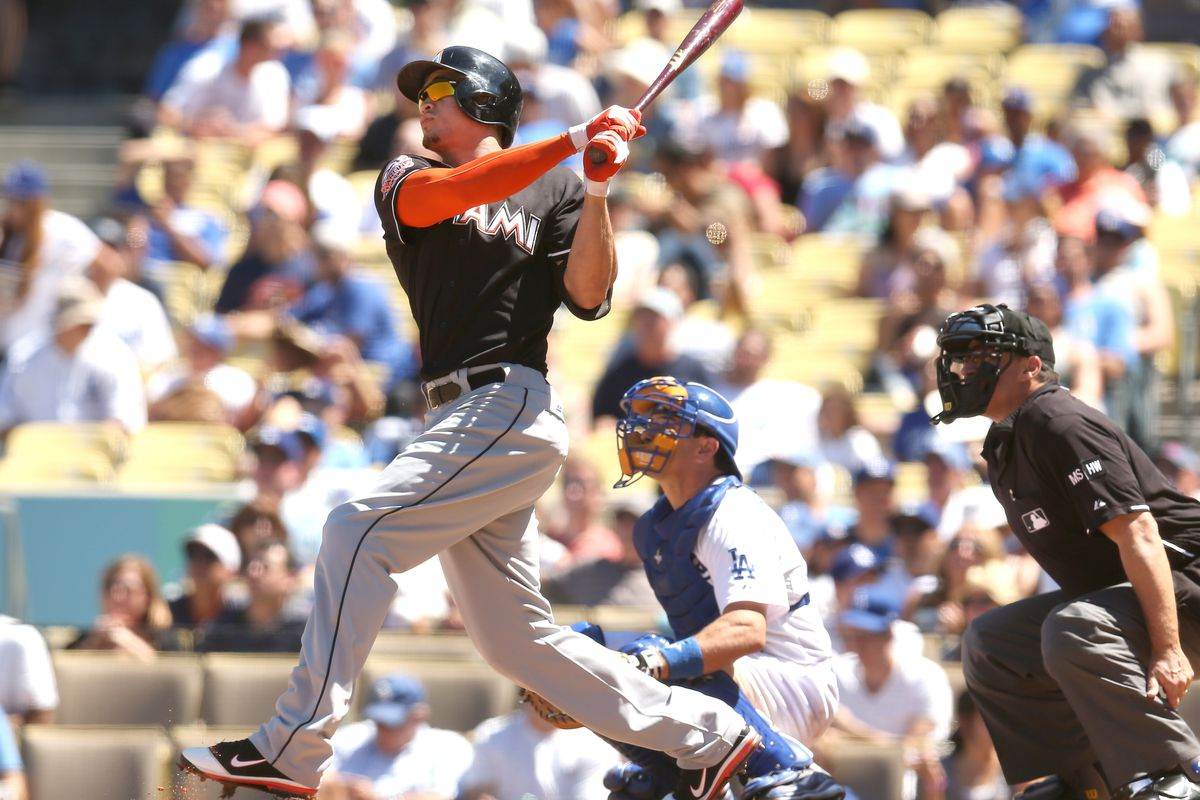 Giancarlo Stanton has eight home runs in his last 11 games, included one in each game of the weekend series at Dodger Stadium.
